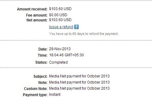 Media.net Contextual Ads Payment Proof