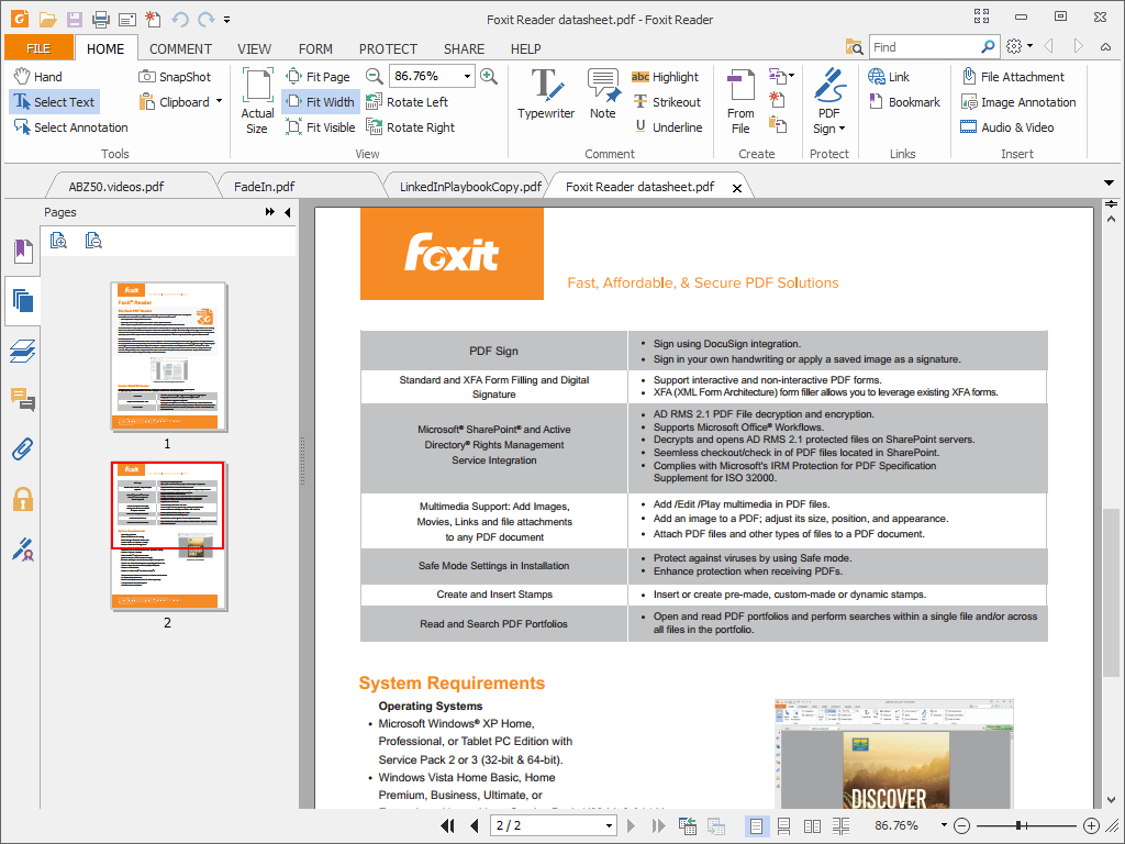 Foxit Phantom PDF standard 7- Features