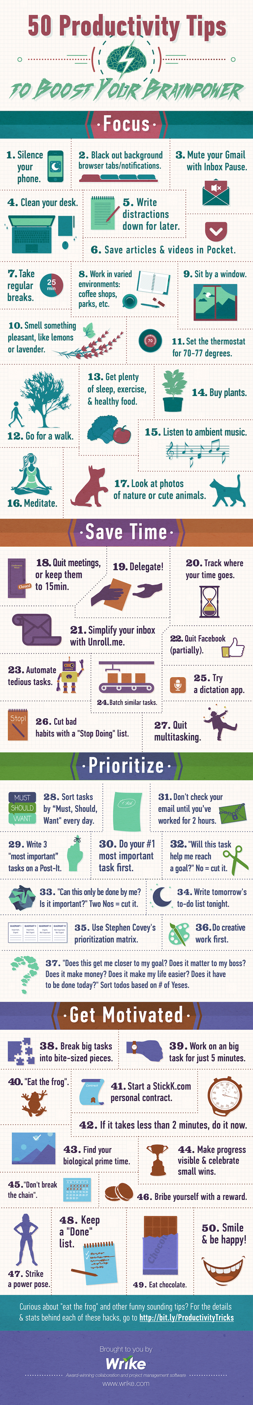 50 Productivity Tips to Boost Your Brainpower - Infographic